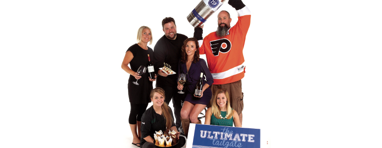 Ultimate Tailgate participants pictured above (clockwise from top-right): Bob Barrar, owner/brewer at 2SP Brewing Company; Ashley Gliniak, marketing and development manager at Meals on Wheels Delaware; Candace Ewald, pastry chef at Sweet Somethings; Brittney Hauserman, bartender/server at Pizza By Elizabeths; Robbie Jester, executive chef at Stone Balloon Ale House; (and center) Hayla Delano, general manager at Columbus Inn. (Photo by Luigi Ciuffetelli)