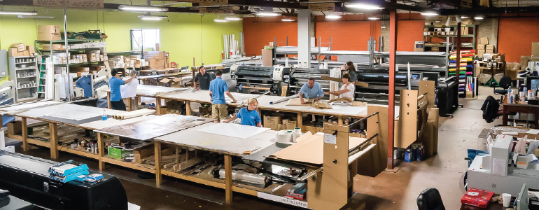 Precision Color Graphics' 10,000-square-foot shop features several large-format printers. (Photo courtesy of One Light Imaging, LLC)