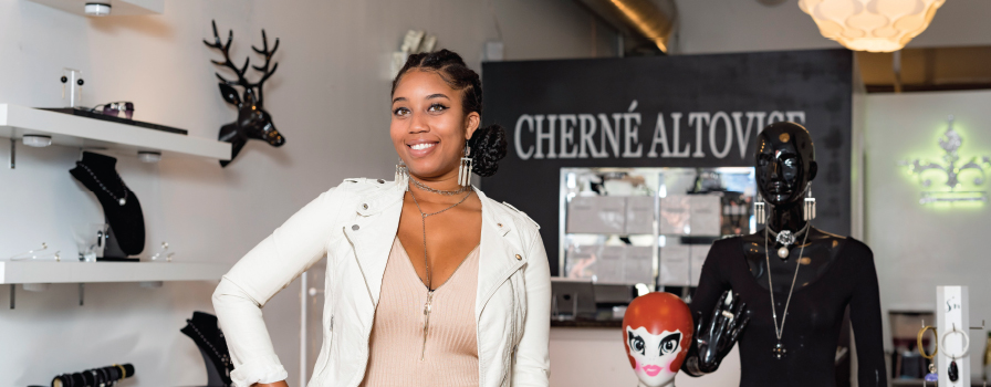 Cherné Bishop incorporates sustainable methods into her jewelry designs.