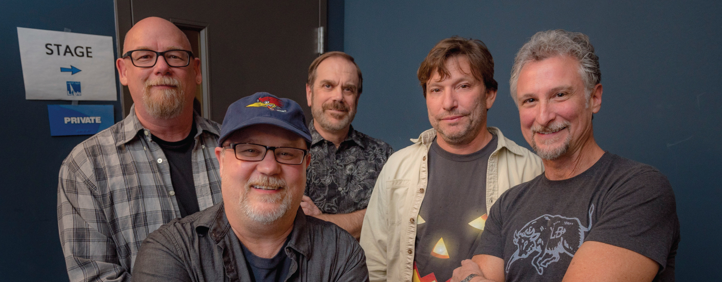 Keyboardist Dan Long, guitarist Kurt Houff, drummer Glenn Walker, guitarist and lead vocalist Chip Porter, and bassist Tony Cappella have been together since 1991. Not pictured: Percussionist Tim Kelly. (Photo by Jim Coarse)
