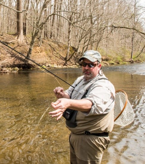 O'Neill indicates the anchor fly on his three-fly rig. (Photo by Anthony Santoro)