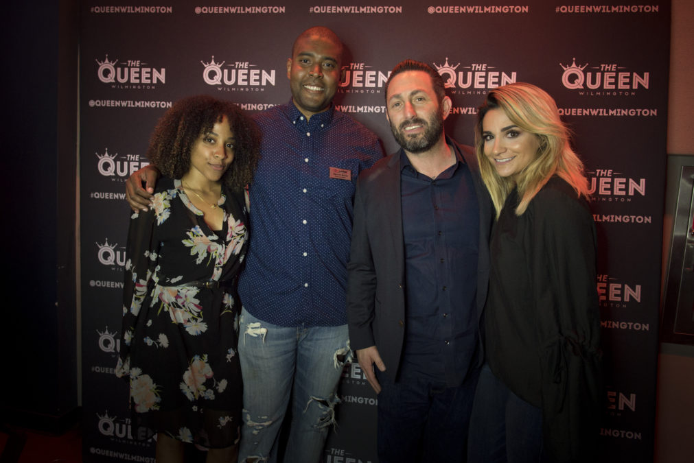 Gathering at the soft opening were (L to R): Jazzi Hall, operations supervisor for The Queen; new General Manager Trenton Banks; Jason Bray, Live Nation Philadelphia Market general manager, and Angela Depersia, operations manager for the Queen. (Photo by Joe del Tufo)