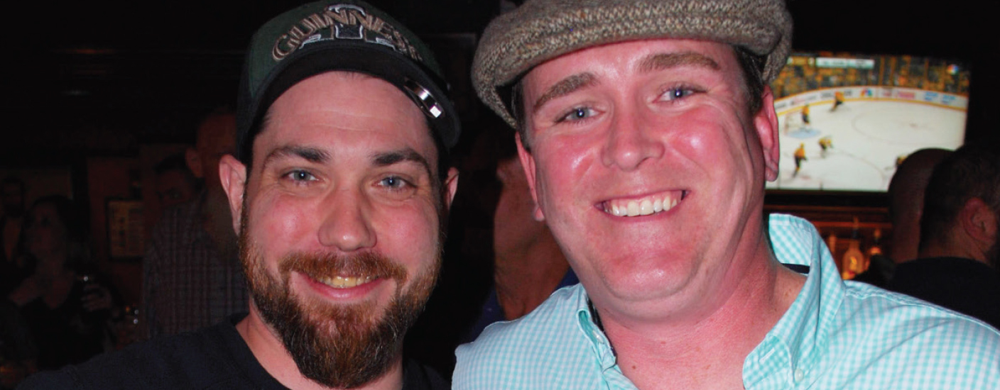 Dead Presidents bartender Chris Murphy (left) and owner Brian Raughley celebrate making it into the second round of the Guinness Perfect Pour Regional competition in Atlantic City last month. (Photo O&A)