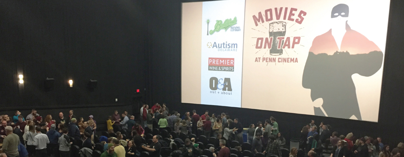 A packed theater at Penn Cinema for Movies On Tap with Bellefonte Brewing Company benefiting Autism Delaware. (Photo by Ryan Kennedy, Premier Wine & Spirits)