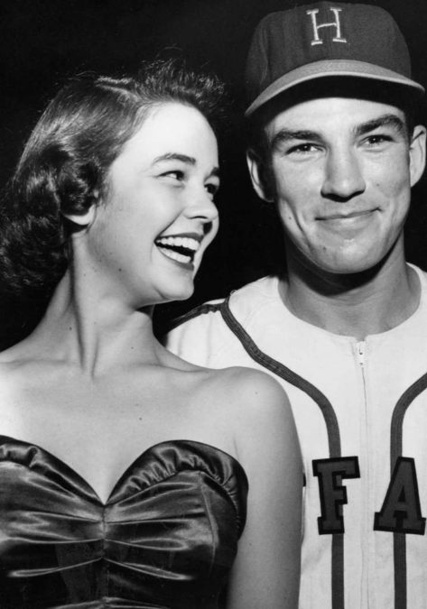 Kathryn Grandstaff, future wife of singer Bing Crosby, grins at the slightly flustered Crimian as he prepares to escort her to a home-plate beauty contest prior to a minor league game in '52. Photo courtesy of the Houston Chronicle