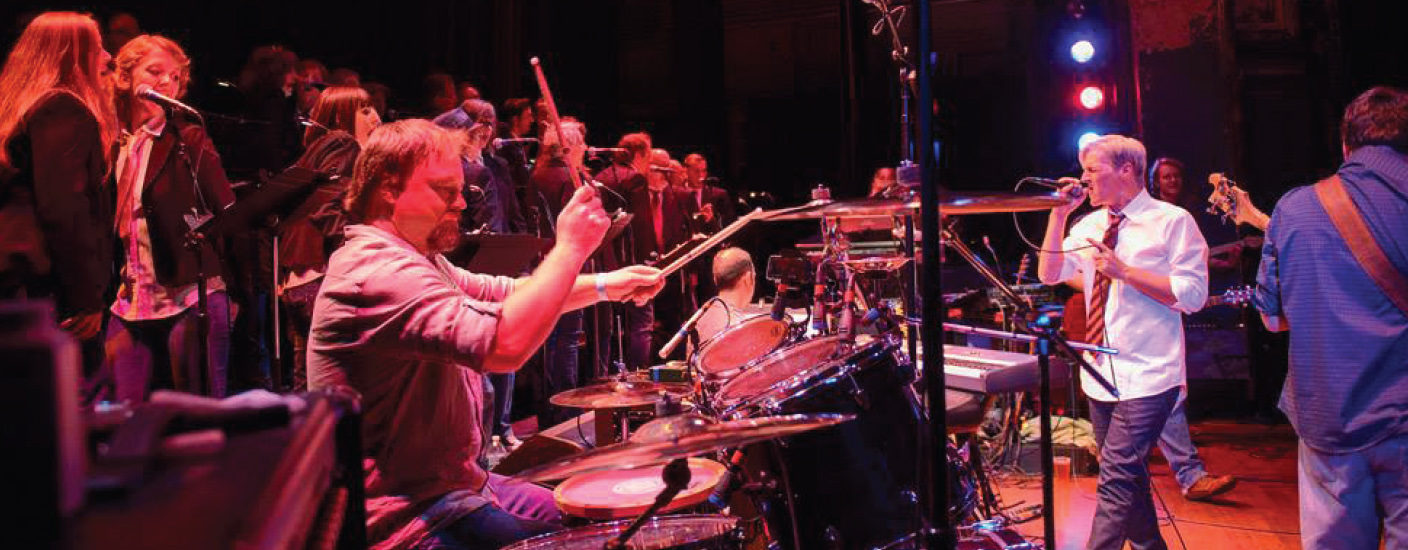 Matt Urban (on drums) and Joe Trainor (white shirt), who worked together with In the Light, formed The Rock Orchestra. Photo Joe del Tufo