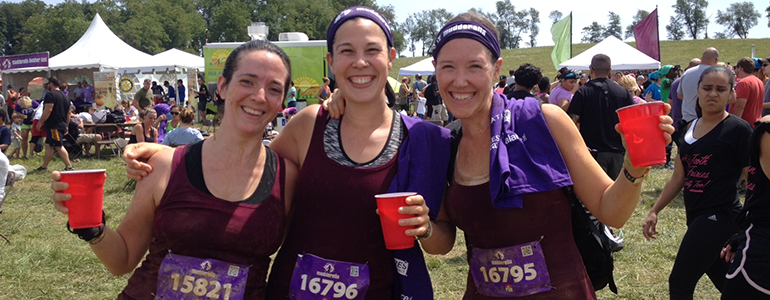 Nichole Warner, Marie Poot and Kelly Loeb enjoy a post-race libation.