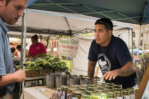 Sheridan sells his wares at the Wilmington Farmers Market every Wednesday in the fall. (Photo by Joe del Tufo)