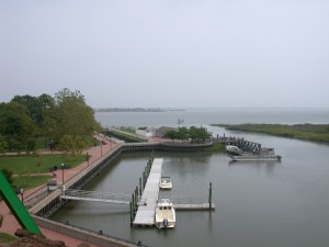 A view of the harbor at Delaware City, adjacent to its Battery Park. The river town history of Delaware City remains an important part of its narrative today.