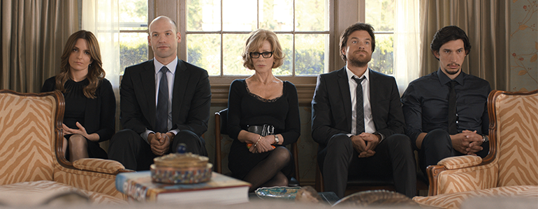 (L-r) TINA FEY as Wendy Altman, COREY STOLL as Paul Altman, JANE FONDA as Hilary Altman, JASON BATEMAN as Judd Altman and ADAM DRIVER as Phillip Altman in This Is Where I Leave You. (Photo courtesy of Warner Bros. Pictures)