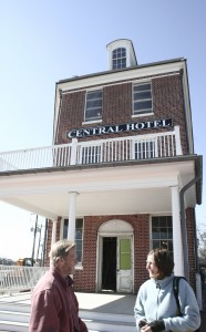 Delaware Ornithological Society officers Bill Stewart and Sally O'Bryne in front of The Central Hotel, the new headquarters for the American Birding Association.