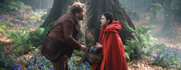 James Corden as the Baker and Lilla Crawford as Little Red Riding Hood in Into The Woods. (Photo Fair Hill, LL)