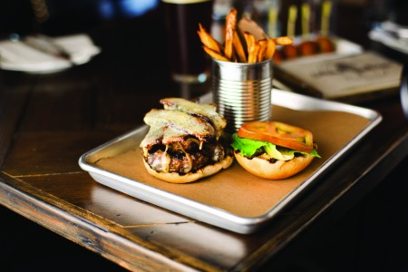 Burger and fries from Stone Balloon Ale House. Photo Squatch Creative