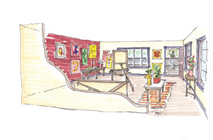 A rendering of what a typical Creative District living space could look like. Drawing provided by WRC