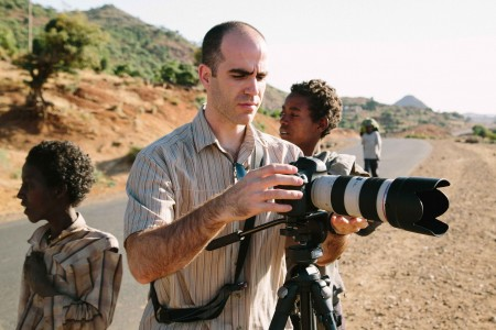 Cotter shooting on location in Shire, Ethiopia. (Photo by Scott Miller)