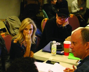 Sheryl Crow and Barry Levinson watch a rehearsal of DTC's Diner. (Photo by Breck Willis, Delaware Theatre Company)