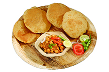 Chole with puri or Chana Masala with Puri Indian Food
