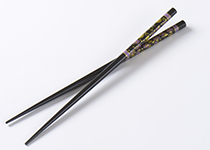 Black chopsticks with flower pattern
