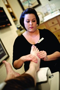 "The pedi: Nikki works on Matt's foot, including his ""quirky toe."""
