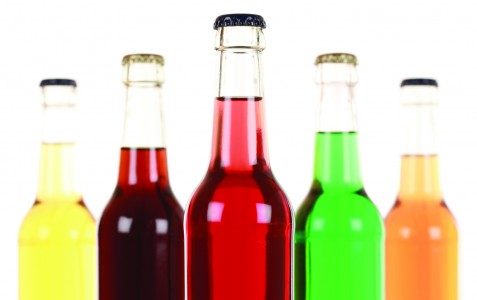 Bottles with soda