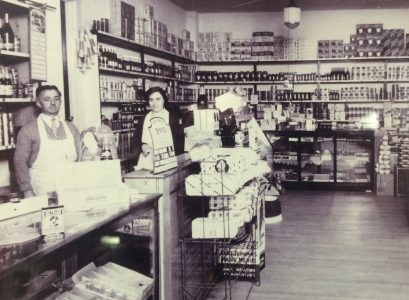 Joseph and Rita Peco, in the general store that is now Peco's Liquors. (Photo courtesy of Peco's Liquors)