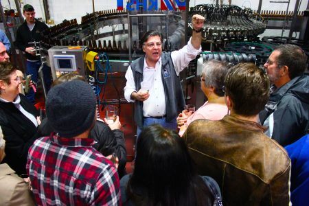 Hugh Sisson, founder of Clipper City Brewing, leads a brewery tour. (Photo courtesy of Heavy Seas Beer)