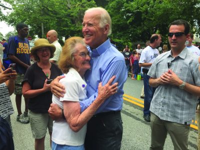 Bridget Sullivan with Vice President Joe Biden at the 2016 Hockessin Fourth of July parade. (Photo by Ryan Alexander)