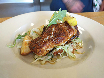 Blackened blue catfish from NorthEast Seafood Kitchen in Ocean View, one of nine restaurants owned by Rehoboth Beach-based SoDel Concepts. All nine feature the fish, which is threatening the ecosystem in the Chesapeake Bay. Photo Pam George