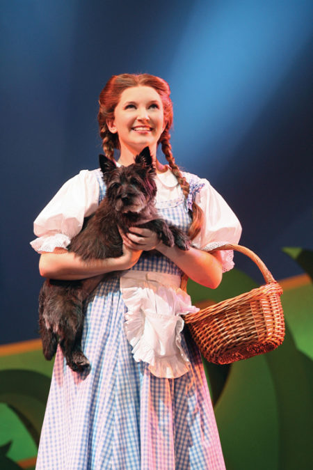 Dorothy (Cassie Okenka) and Toto (Snickers) from the 2008 tour. Photo courtesy of The Playhouse on Rodney Square