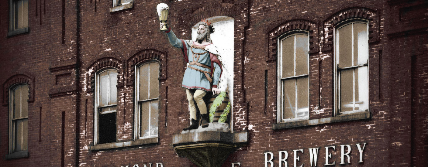 A colorized photo of the King Gambrinus statue on the front of Wilmington's Diamond State Brewery, circa 1947. Photo courtesy of the Delaware Historical Society